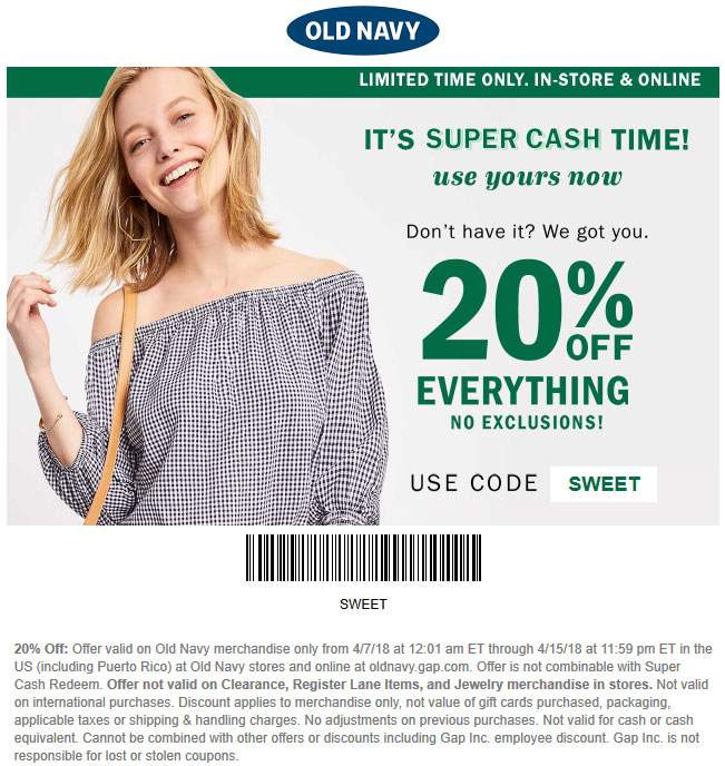 OldNavy.com Promo Coupon 20% off everything at Old Navy, or online via promo code SWEET