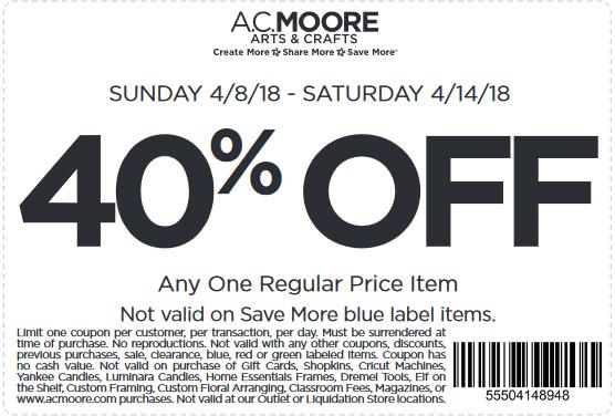 A.C.Moore.com Promo Coupon 40% off a single item at A.C. Moore