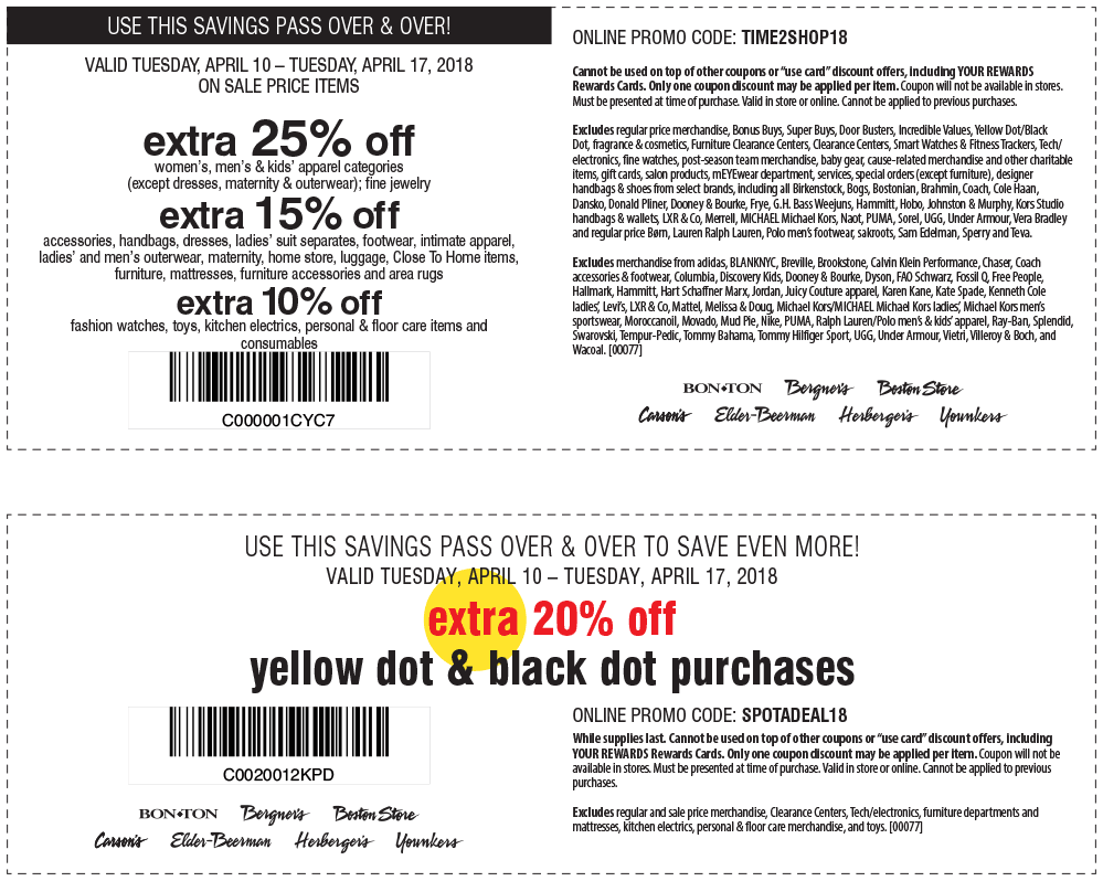Carsons Coupon October 2018 Extra 25% off at Carsons, Bon Ton & sister stores, or online via promo code TIME2SHOP18