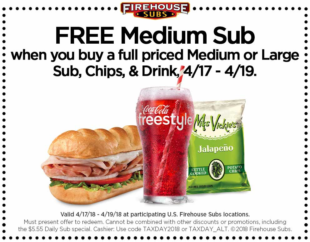 FirehouseSubs.com Promo Coupon Second sub sandwich free the 17-19th at Firehouse Subs