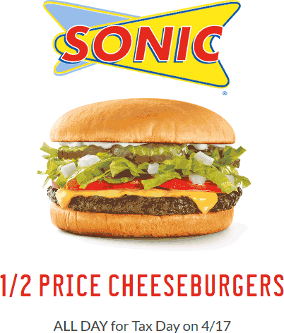 SonicDrive-In.com Promo Coupon 50% off cheeseburgers the 17th at Sonic Drive-In
