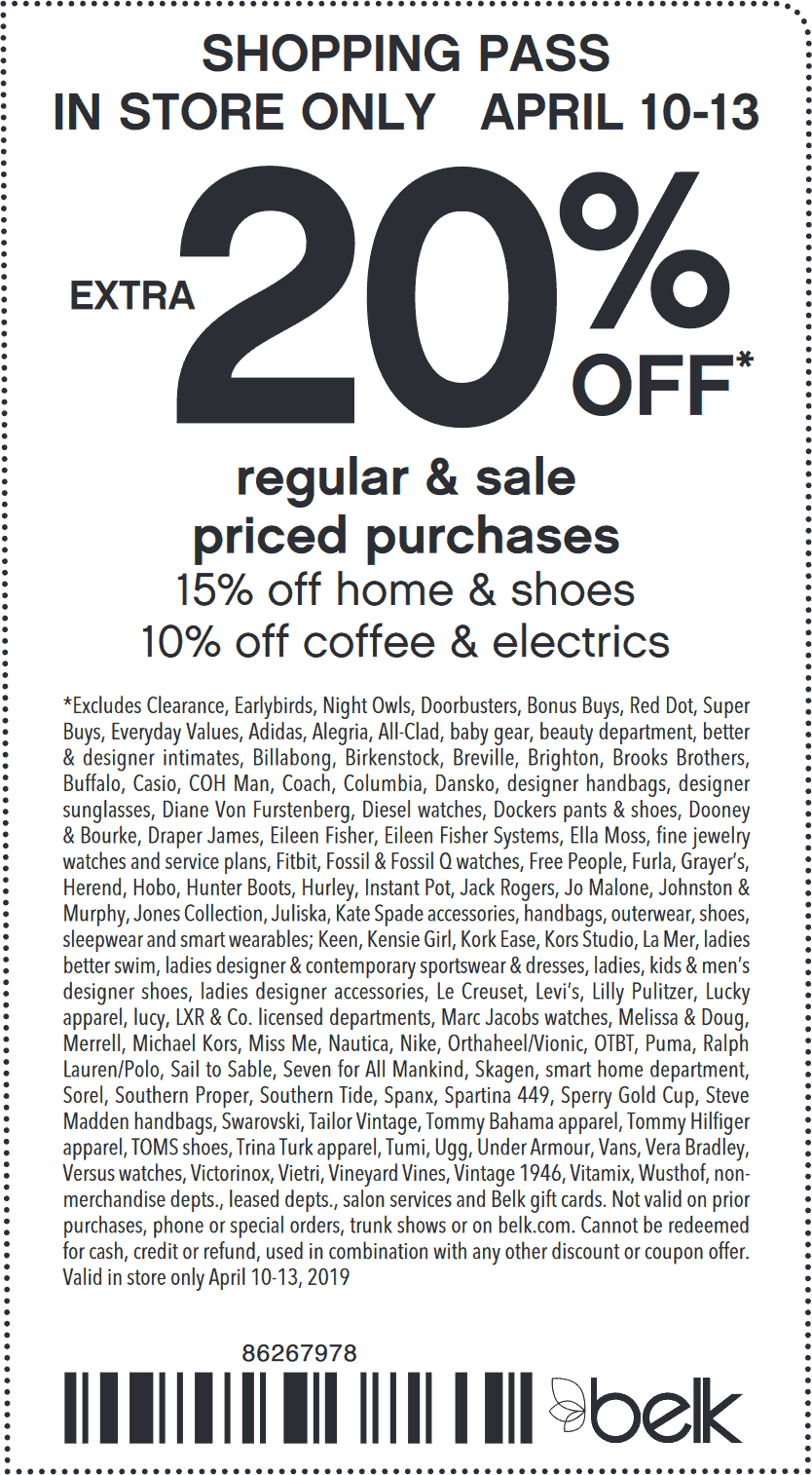 Belk Coupon July 2019 Extra 20% off at Belk