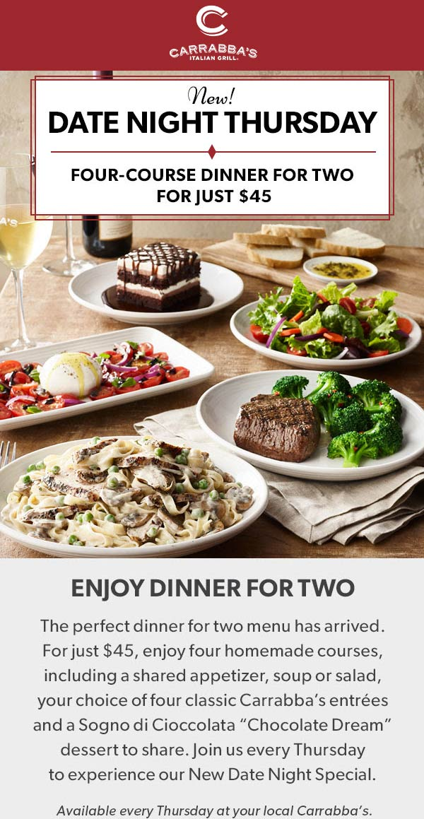 Carrabbas Coupon July 2019 4-course dinner for 2 = $45 Thursdays at Carrabbas