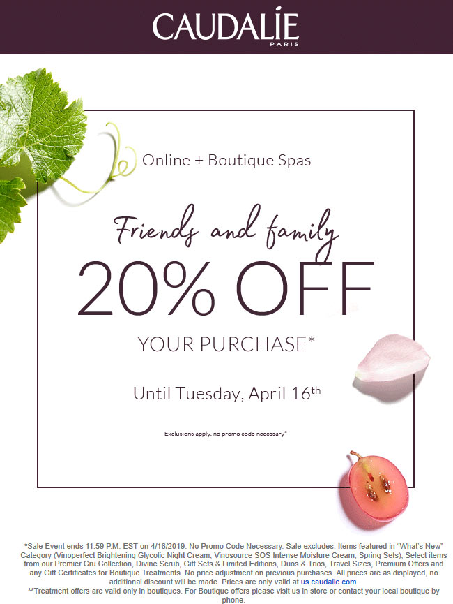 Caudalie Coupon August 2019 20% off at Caudalie, ditto online