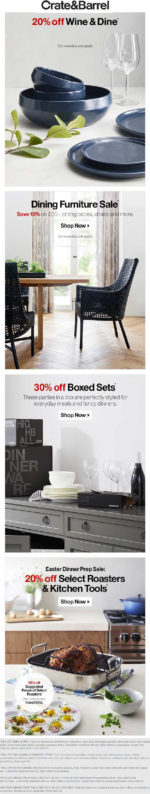 Crate & Barrel Coupon July 2019 20% off dinnerware & more at Crate & Barrel, ditto online