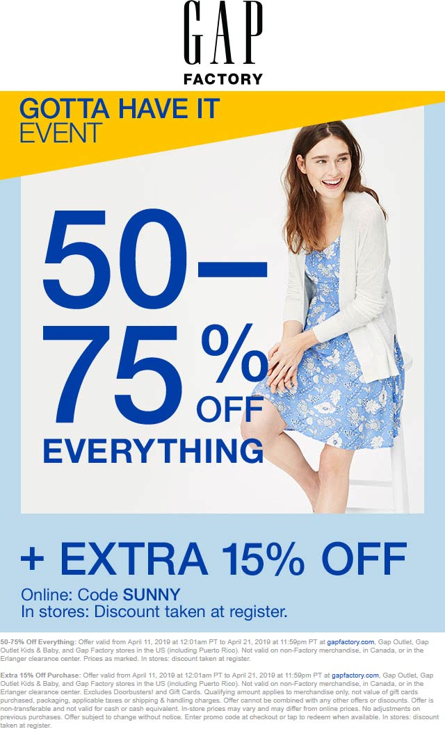 Gap Factory Coupon July 2019 65-90% off everything at Gap Factory, or online via promo code SUNNY