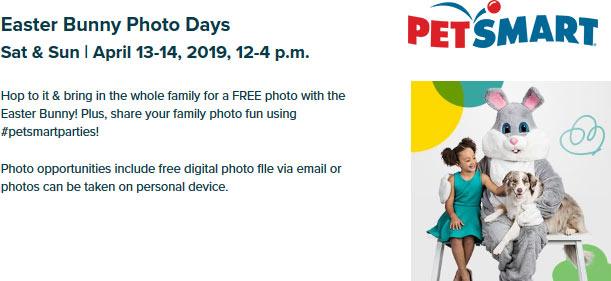 Petsmart.com Promo Coupon Free photo with Easter bunny this weekend at PetSmart
