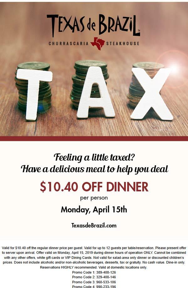 Texas de Brazil Coupon May 2019 $10.40 off dinner Monday at Texas de Brazil steakhouse
