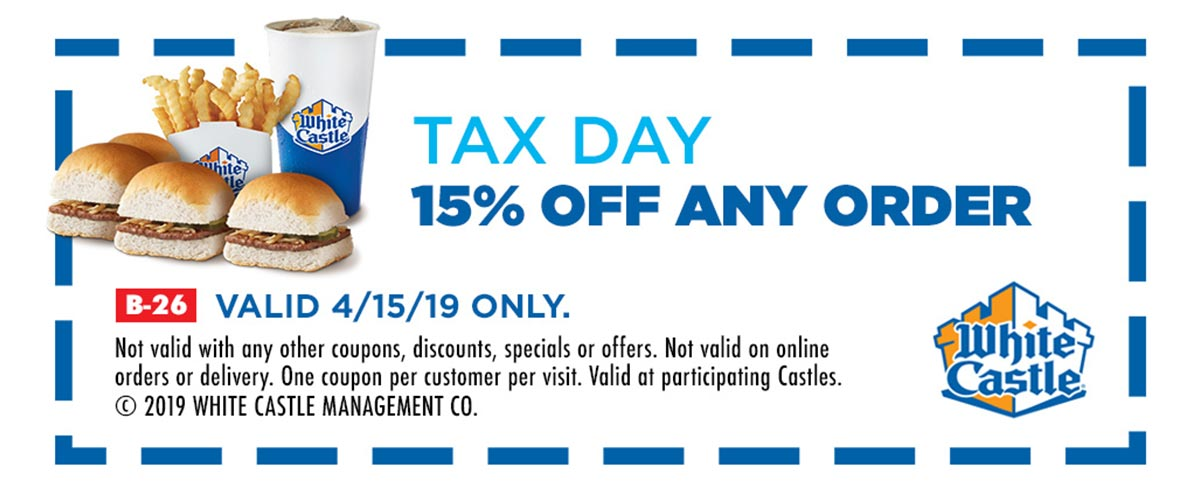 White Castle Coupon May 2019 15% off Monday at White Castle restaurants