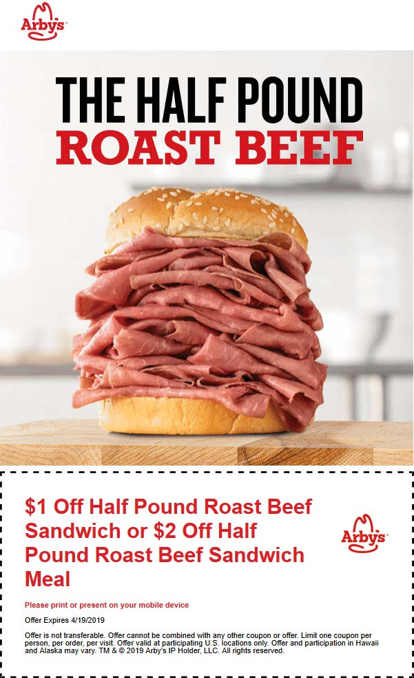 Arbys Coupon January 2020 $1-$2 off half lb beef sandwich at Arbys