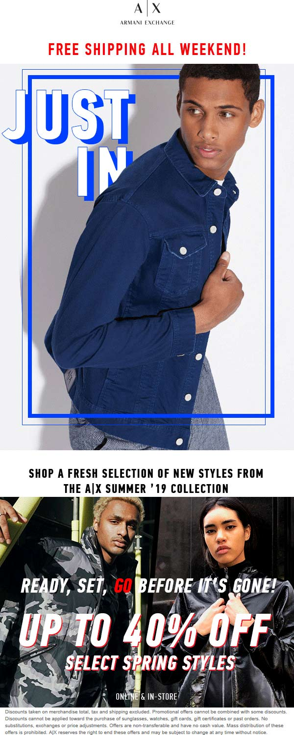 ArmaniExchange.com Promo Coupon 40% off Spring styles at Armani Exchange, ditto online