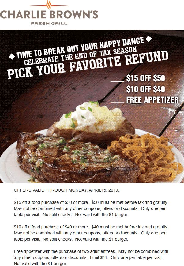 Charlie Browns Coupon June 2019 Free appetizer & more at Charlie Browns fresh grill