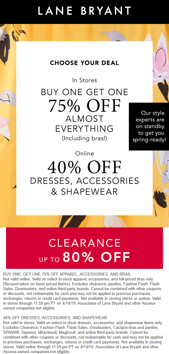 LaneBryant.com Promo Coupon Second item 75% off at Lane Bryant, or 40% online