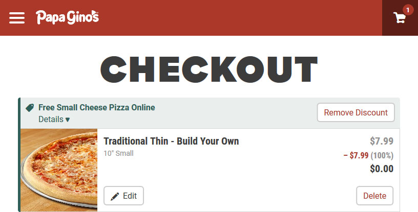Papa Ginos Coupon October 2019 Free small cheese pizza at Papa Ginos via promo code 7282