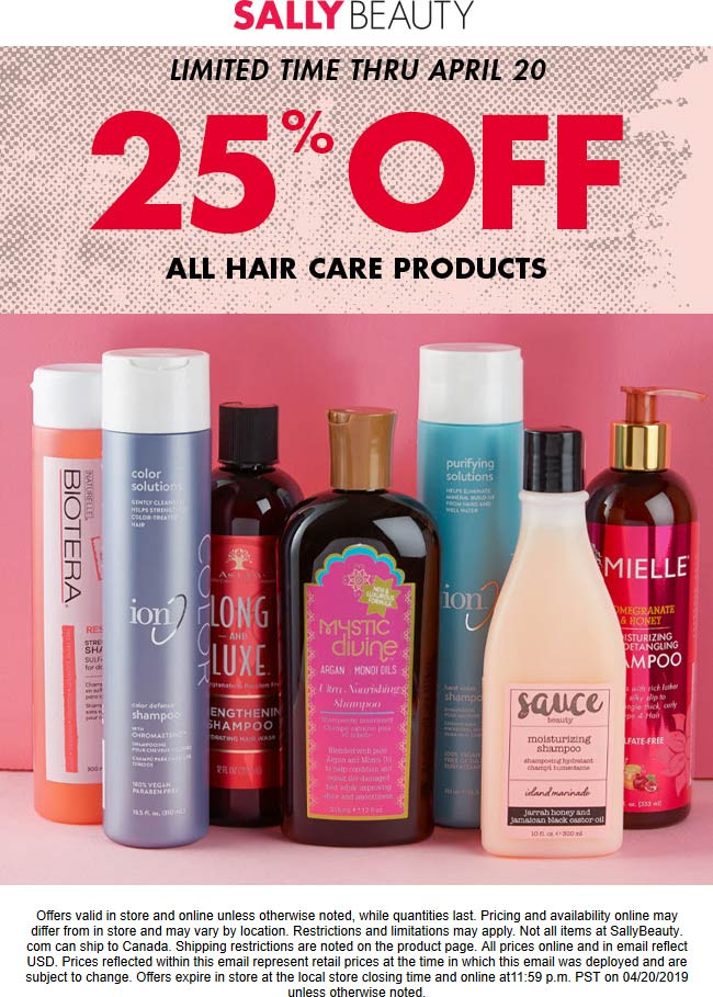 Sally Beauty Coupon January 2020 25% off all hair care items at Sally Beauty, ditto online