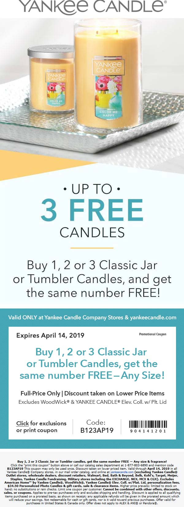 Yankee Candle Coupon November 2019 Second candle free at Yankee Candle, or online via promo code B123AP19