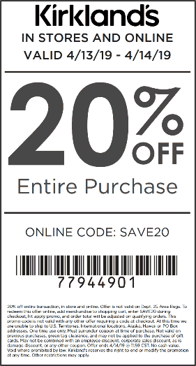 Kirklands.com Promo Coupon 20% off today at Kirklands, or online via promo code SAVE20