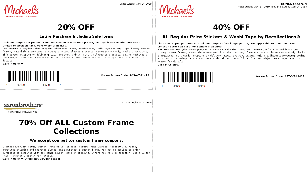 Michaels.com Promo Coupon 20% off everything at Michaels, or online via promo code 20SAVE41419