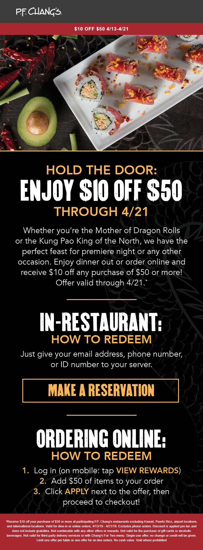 P.F. Changs Coupon April 2019 $10 off $50 for rewards members at P.F. Changs