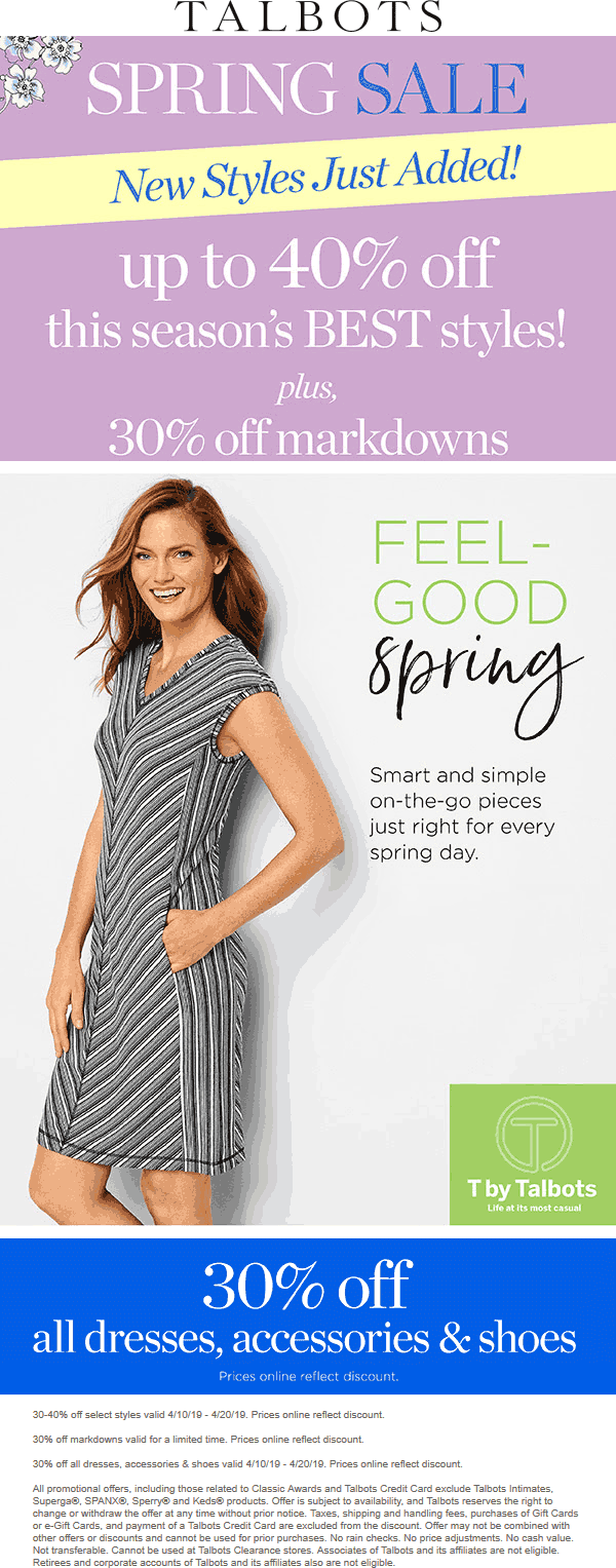Talbots Coupon June 2019 30% off markdowns & more at Talbots, ditto online