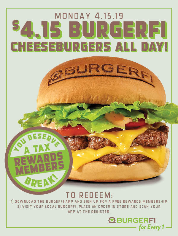 BurgerFi Coupon June 2019 $4.15 cheeseburgers today at BurgerFi restaurants