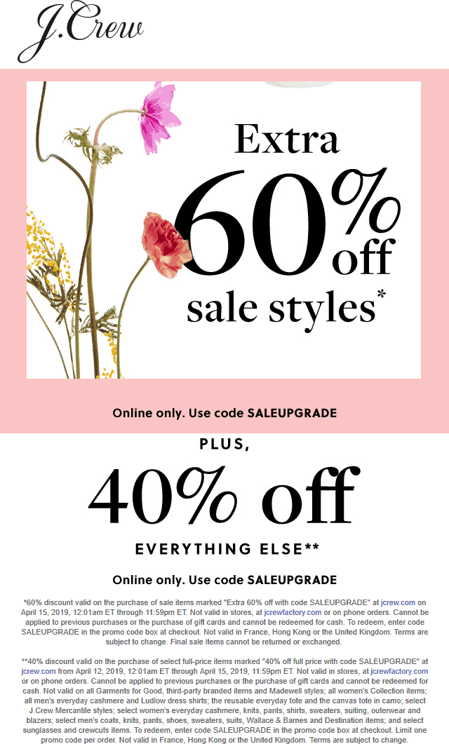 J.Crew Coupon July 2019 40-60% off everything online today at J.Crew via promo code SALEUPGRADE