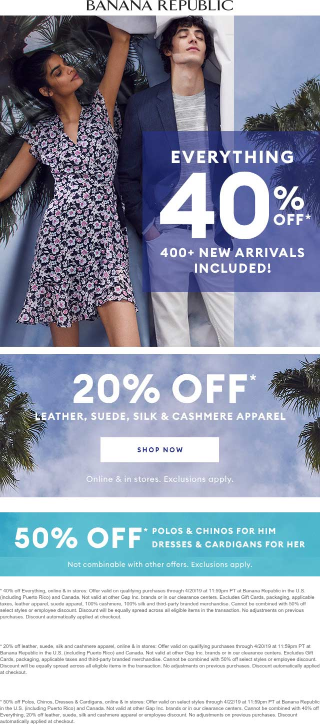 Banana Republic Coupon July 2019 40% off everything at Banana Republic, ditto online