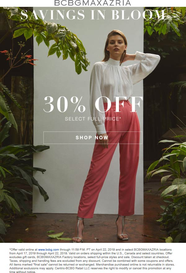 BCBGMAXAZRIA Coupon May 2019 30% off at BCBGMAXAZRIA, ditto online