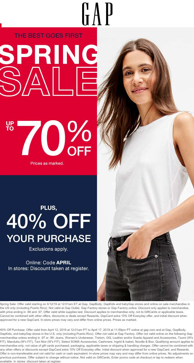 Gap Coupon June 2019 40% off at Gap, or online via promo code APRIL