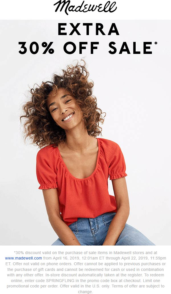 Madewell Coupon July 2019 Extra 30% off sale items at Madewell, or online via promo code SPRINGFLING