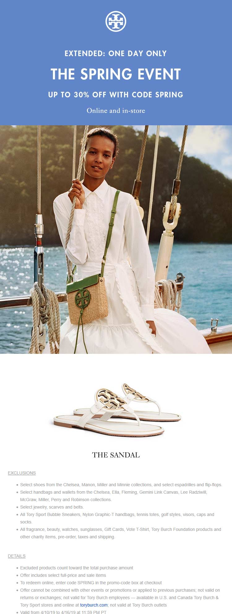 Tory Burch Coupon June 2019 30% off today at Tory Burch, or online via promo code SPRING