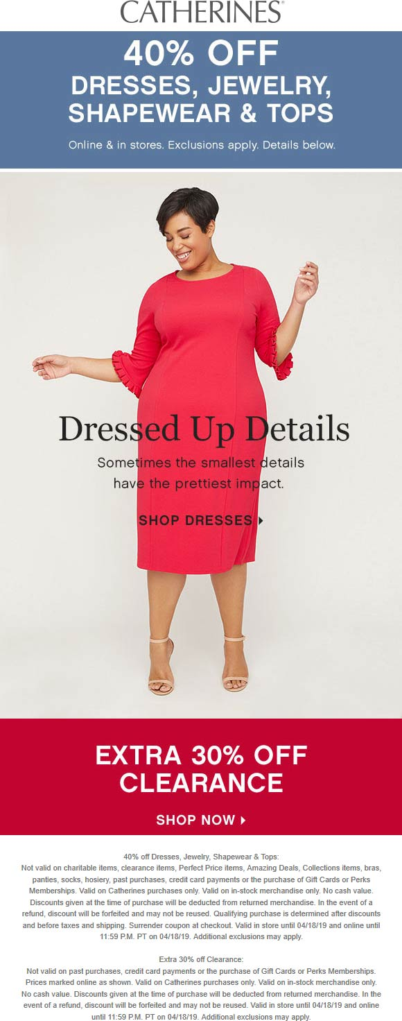Catherines.com Promo Coupon 40% off dresses & more at Catherines, ditto online