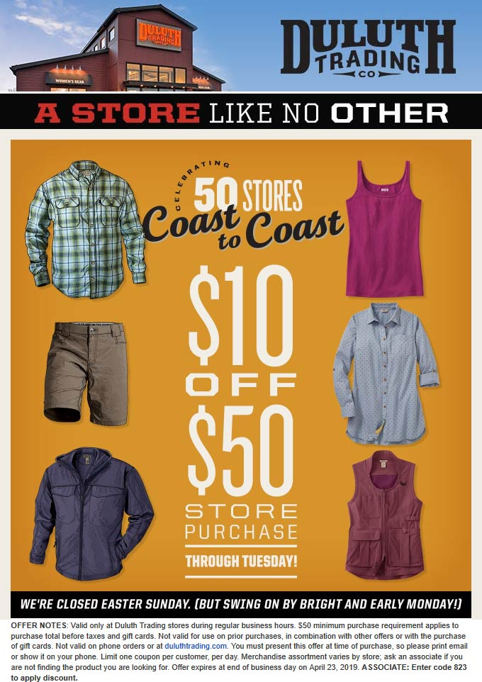 Duluth Trading Co Coupon September 2019 $10 off $50 at Duluth Trading Co