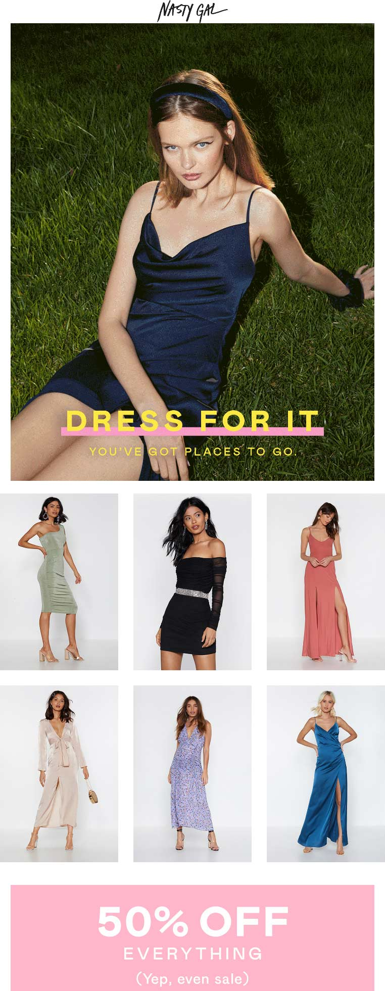 Nasty Gal Coupon June 2019 50% off everything at Nasty Gal