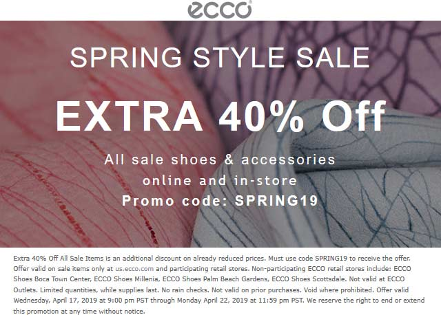 ECCO Coupon November 2019 Extra 40% off sale shoes at ECCO, or online via promo code SPRING19