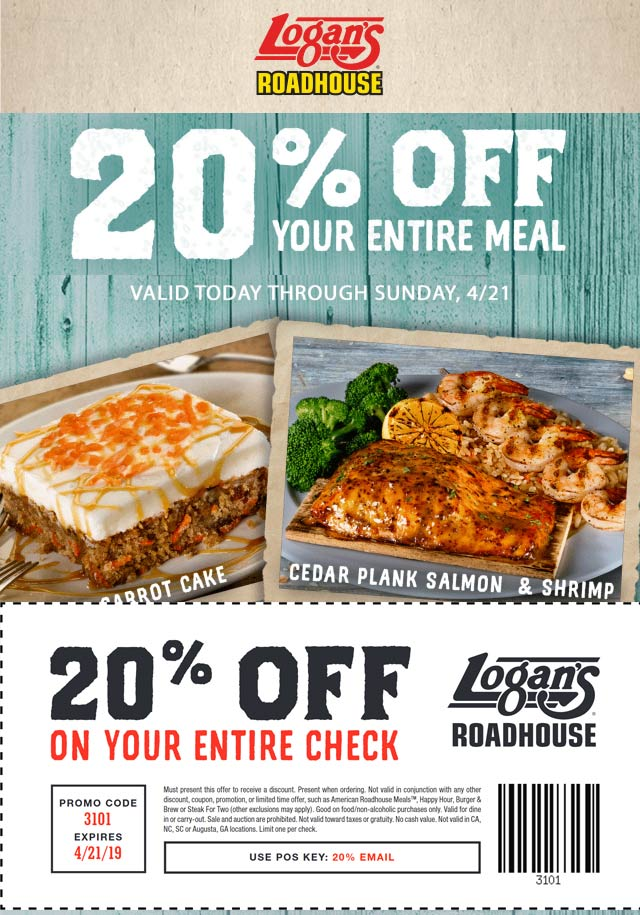 LogansRoadhouse.com Promo Coupon 20% off your meal at Logans Roadhouse