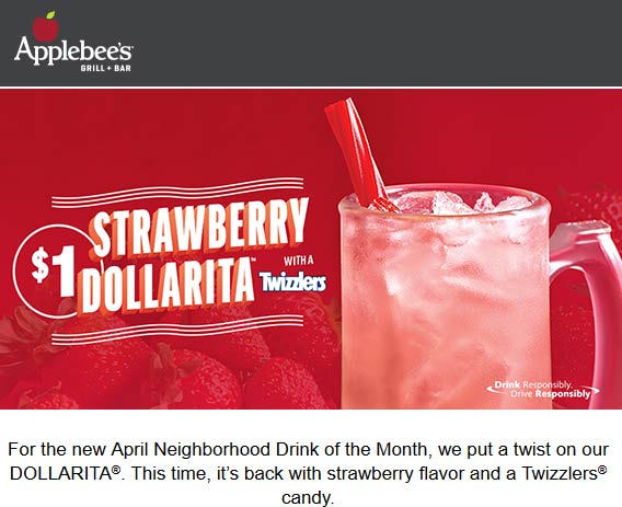 Applebees Coupon May 2019 $1 strawberry margaritas at Applebees restaurants