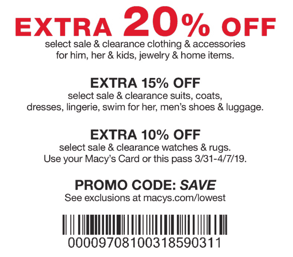 Macys Coupon November 2019 Extra 20% off at Macys, or online via promo code SAVE