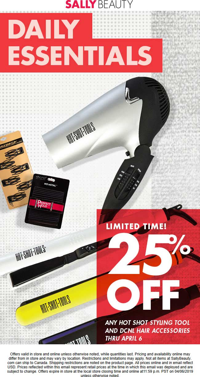 Sally Beauty Coupon October 2019 25% off hot shot tools at Sally Beauty, ditto online
