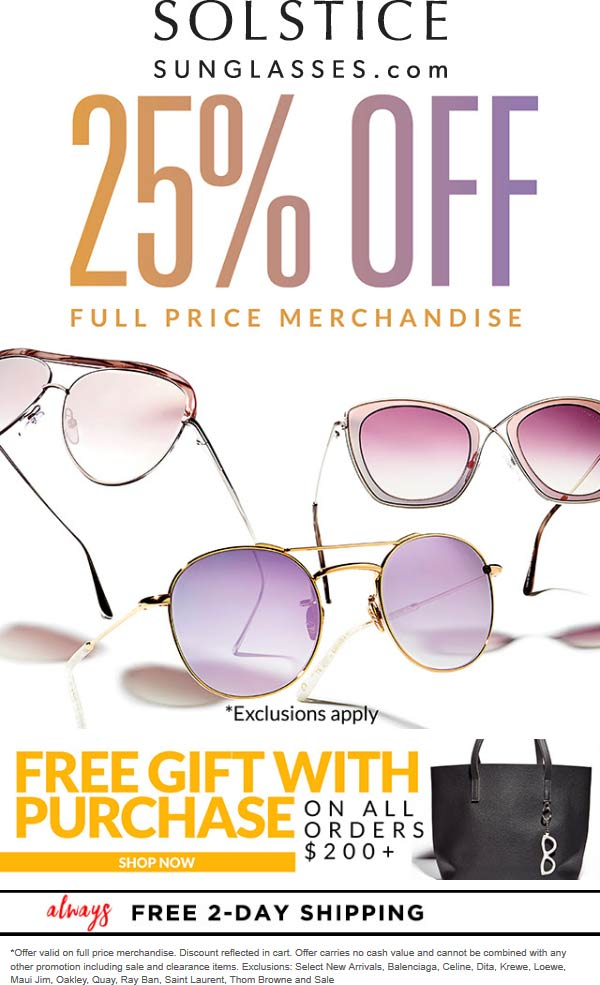 Solstice Sunglasses Coupon August 2019 25% off today online at Solstice Sunglasses