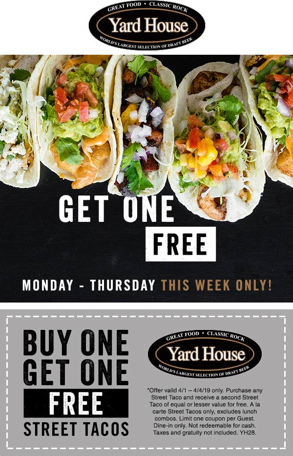 Yard House Coupon November 2019 Second street taco free at Yard House restaurants