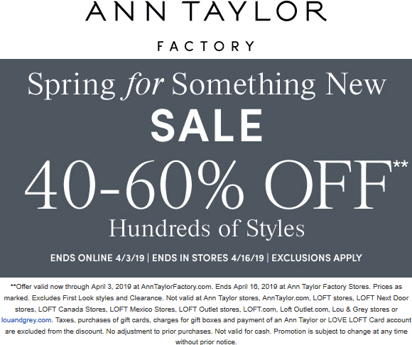 Ann Taylor Factory Coupon July 2019 40-60% off at Ann Taylor Factory