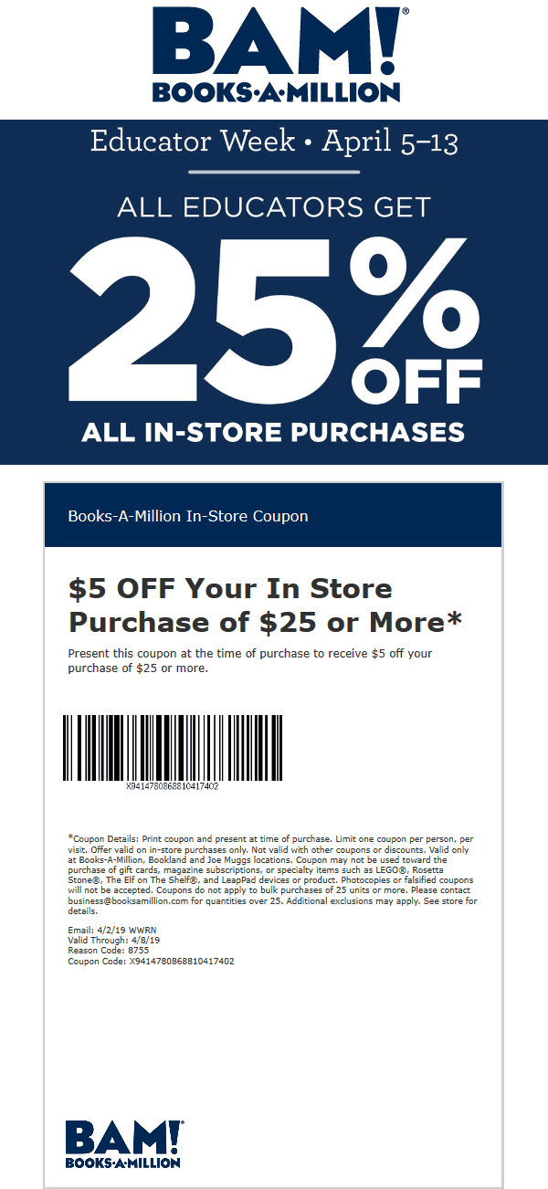 Books-A-Million Coupon June 2019 Teachers get 25% off at Books-A-Million
