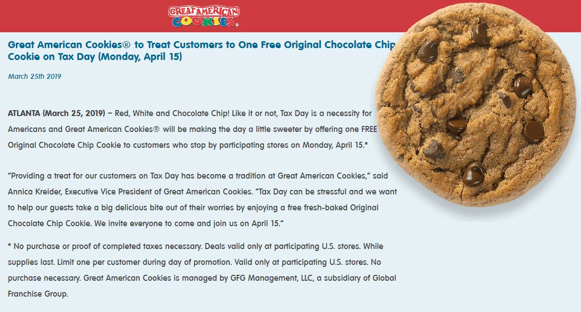 Great American Cookies Coupon May 2019 Free cookie the 15th at Great American Cookies
