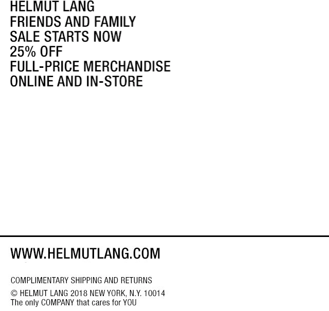 Helmut Lang Coupon October 2019 25% off at Helmut Lang, ditto online