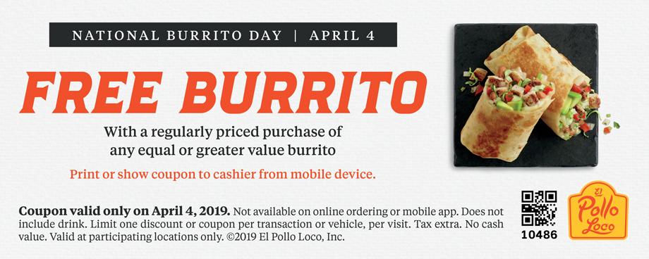 El Pollo Loco Coupon November 2019 Second burrito free Thursday at El Pollo Loco restaurants