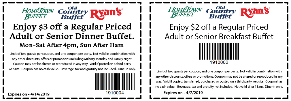 HometownBuffet.com Promo Coupon $3 off & more at HomeTown Buffet, Ryans & Old Country Buffet