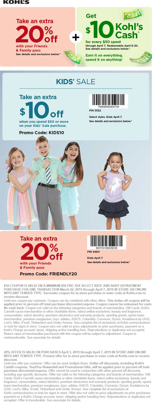 Kohls Coupon January 2020 Extra 20% off at Kohls, or online via promo code FRIENDLY20