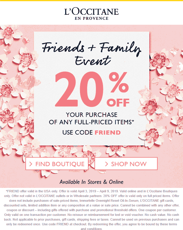 LOccitane Coupon May 2019 20% off at LOccitane, or online via promo code FRIEND