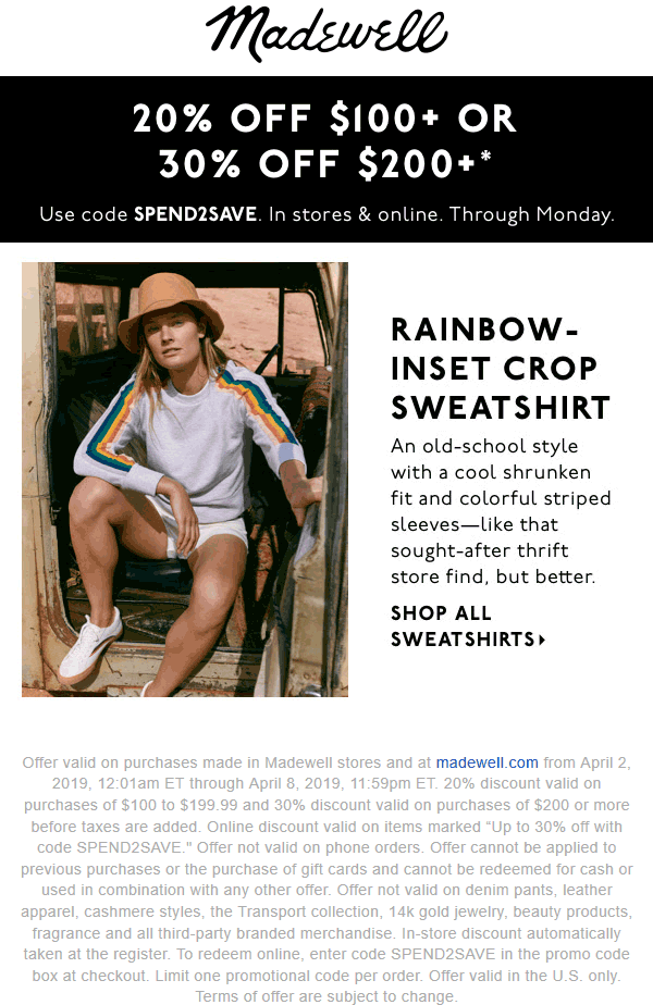Madewell Coupon May 2019 20-30% off $100+ at Madewell, or online via promo code SPEND2SAVE
